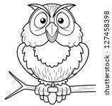 Stock vector illustration of cartoon owl sitting on tree branch coloring book 127458398