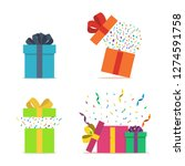 set of gift boxes. opened gift... | Shutterstock .eps vector #1274591758