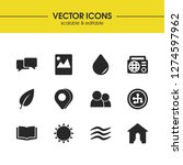 universal icons set with sun ...