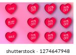3d paper discount hearts. 3d... | Shutterstock .eps vector #1274647948