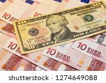 dollars and euro banknotes... | Shutterstock . vector #1274649088
