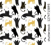 Stock vector cute seamless pattern with cats shadows gold and black cats children s background vector 1274715895