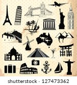 collection of travel icons and... | Shutterstock .eps vector #127473362