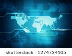 2d illustration world map... | Shutterstock . vector #1274734105