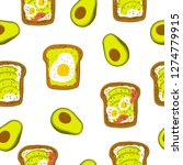 avocado toast. hand drawn... | Shutterstock .eps vector #1274779915