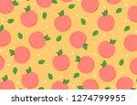 peach pattern cartoon vector.... | Shutterstock .eps vector #1274799955
