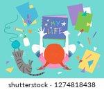 illustration of a kid girl...   Shutterstock .eps vector #1274818438