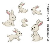 Stock vector collection of some cute rabbits hand draw illustration 1274825512