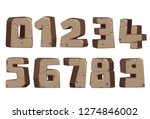 stone style font numbers 0 to 9 | Shutterstock .eps vector #1274846002