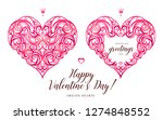 ornate vector hearts in... | Shutterstock .eps vector #1274848552