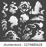smoke clouds. comic steam cloud ... | Shutterstock .eps vector #1274880628