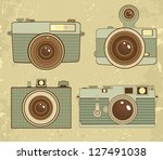 vintage camera collection. | Shutterstock .eps vector #127491038