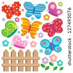 butterfly theme collection 2  ... | Shutterstock .eps vector #127495076