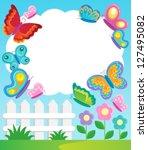 butterfly theme frame 1  ... | Shutterstock .eps vector #127495082
