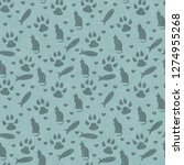 teal cat   paw prints  fish ...   Shutterstock . vector #1274955268