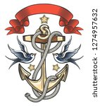 anchor with swallows and ribbon.... | Shutterstock . vector #1274957632