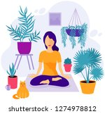 girl at greenhouse or home... | Shutterstock .eps vector #1274978812