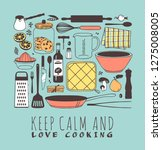 hand drawn illustration cooking ... | Shutterstock .eps vector #1275008005