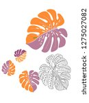 vector tropical pattern with... | Shutterstock .eps vector #1275027082
