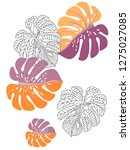 vector tropical pattern with... | Shutterstock .eps vector #1275027085
