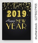 new year 2019 card and merry... | Shutterstock .eps vector #1275027955
