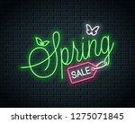 spring sale neon lettering.... | Shutterstock .eps vector #1275071845