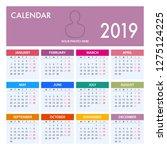 calendar for 2019 on white... | Shutterstock .eps vector #1275124225