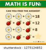 mathematical riddle with answer.... | Shutterstock .eps vector #1275124852