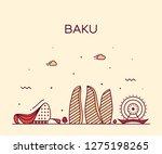 baku skyline  azerbaijan.... | Shutterstock .eps vector #1275198265