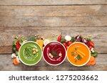 various cream soups ...   Shutterstock . vector #1275203662