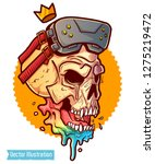 skull with glasses of virtual... | Shutterstock .eps vector #1275219472
