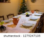 xmas or christmas table dinner... | Shutterstock . vector #1275247135