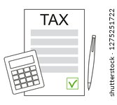 paying income taxes. tax season.... | Shutterstock .eps vector #1275251722