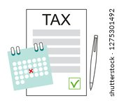 paying income taxes. tax time.... | Shutterstock .eps vector #1275301492