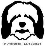 bearded collie dog head in... | Shutterstock .eps vector #1275365695