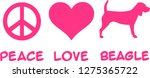 peace  love  beagle slogan pink | Shutterstock .eps vector #1275365722
