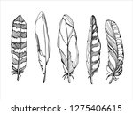 outline vector feathers boho... | Shutterstock .eps vector #1275406615