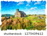 watercolour painting of an old... | Shutterstock . vector #1275439612