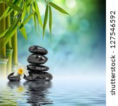 Zen Stones And Bamboo On The...