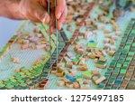 mosaic as a ceramic or ceramic...   Shutterstock . vector #1275497185