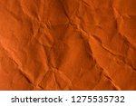 orange crinkle paper background. | Shutterstock . vector #1275535732