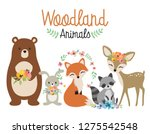 Stock vector cute woodland forest animals vector illustration including bear bunny rabbit fox raccoon and 1275542548