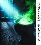 witch cauldron with boiling... | Shutterstock . vector #1275552322