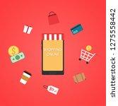 shopping online wallpaper. free ... | Shutterstock .eps vector #1275558442