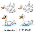 Illustration Of Four Ducks On A ...