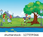 illustration of kids and a water | Shutterstock . vector #127559366