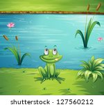 illustration of a hungry frog... | Shutterstock . vector #127560212
