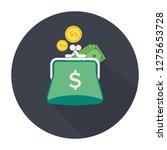 purse icon with coins. flat... | Shutterstock .eps vector #1275653728
