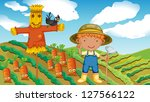illustration of a farmer with a ... | Shutterstock . vector #127566122
