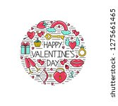 happy valentine's day lettering.... | Shutterstock .eps vector #1275661465